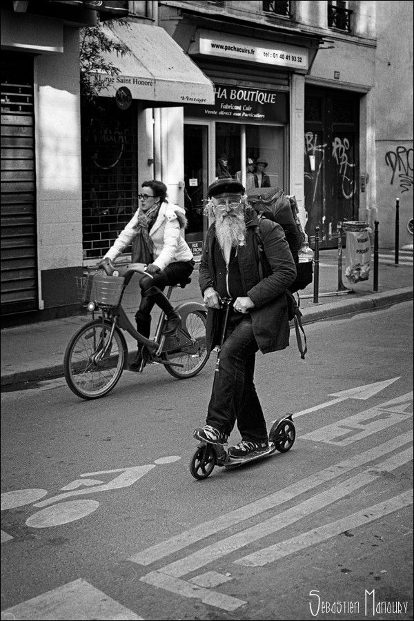 Scooter time · black and white