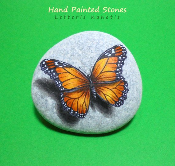 Stone Painting Monarch Butterfly Is Painted by RockArtAttack