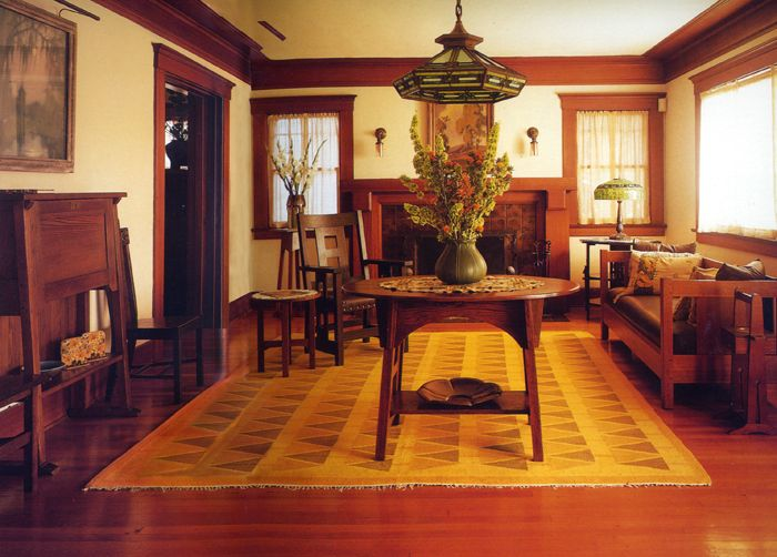 Entry table arts and craftsman built 1908 tslt918 - Arts and crafts bungalow interiors ...