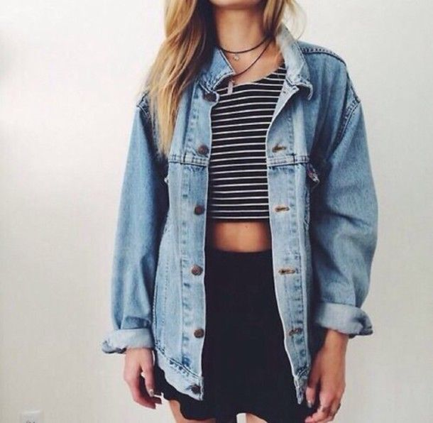 Jacket Outfit Necklace Love Acid Wash Tumblr Denim Fashion Style