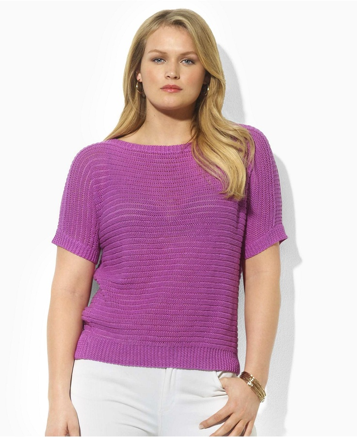 Lauren by Ralph Lauren Plus size sweater, Jelany Dolman Sleeve Linen Boatneck (Originally $109 / Now $68.99) Color: Wild Orchid Sizes: 1X-3X