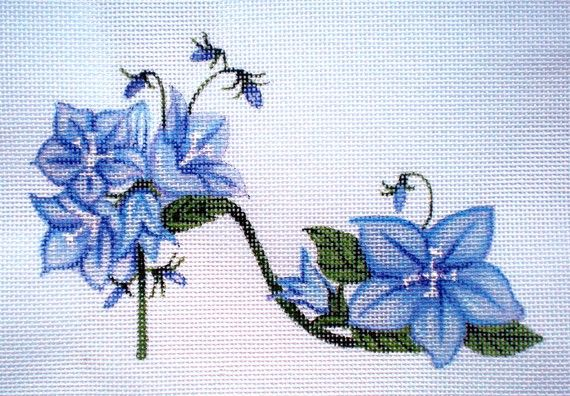 Handpainted Needlepoint canvas Blue Bell Flower Slipper by colors1