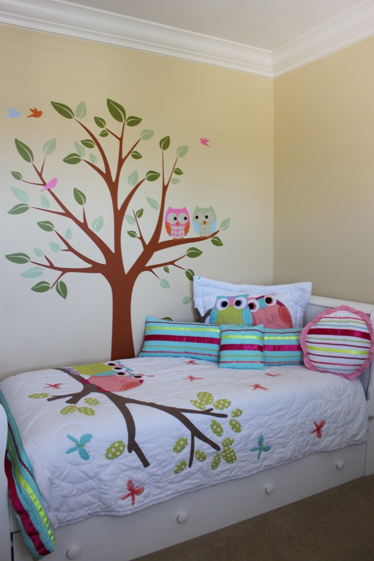 Ruby s rainbow room inspiration for kids bedroom decor at huggies - Adorable Owl Bedding And Decal So Easy To Do With The Custom Decal From Pinktoblue