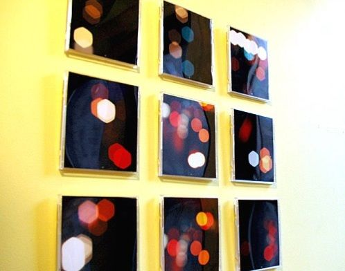 This is old CD cases -- One photo cut into nine sections and hung on the wall.  It would take special printing or cutting it before printing in Photoshop.