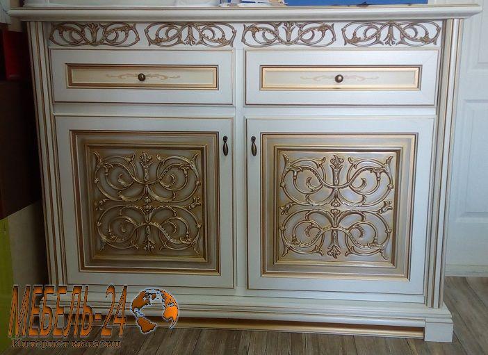 Комод 2д Лацио фото Світ Меблів, белый с патиной золото, большой комод в гостиную, модульная мебель, цена, Киев