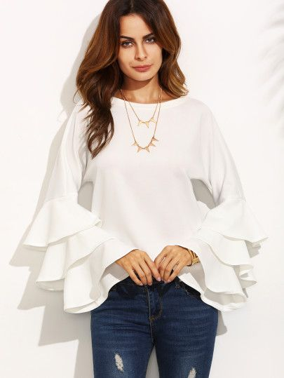 Shop White Round Neck Ruffle Long Sleeve Blouse online. SheIn offers White Round Neck Ruffle Long Sleeve Blouse & more to fit your fashionable needs.