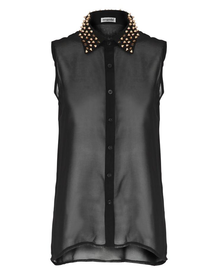Harper Stud Collar Sleeveless Blouse In Black x  http://www.missguided.co.uk/harper-stud-collar-sleeveless-blouse-46612