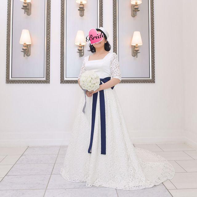 #オーダードレス  を  #サッシュベルト  にかえたパターン    ベニルを脱いでるので  裾がフロアに広がるパターン    #wedding   #結婚式   #花嫁   #bride   #日本中のプレ花嫁さんと繋がりたい  #卒花嫁  #当日レポ  #weddingdress   #ウェディングドレス  #スクエアネック  #コットンハーバークラブ  #ストライプ  #人前式  #人前結婚式  #サンドセレモニー
