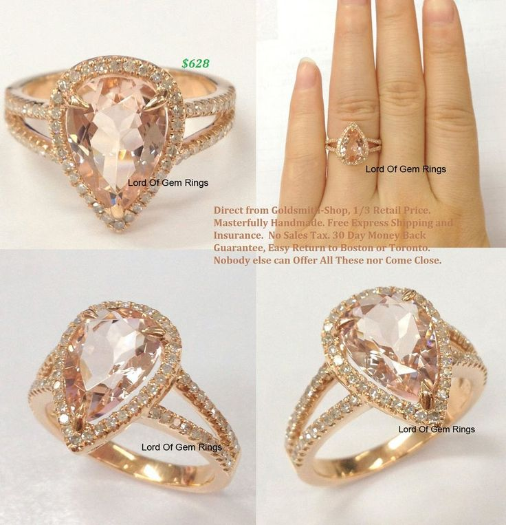 Pear Morganite Engagement Ring Pave Diamond Wedding 14K Rose Gold 8x12mm