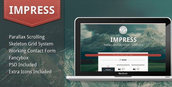 Impress - Parallax Portfolio Template - ThemeForest Item for Sale