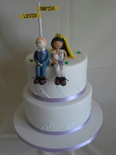 #Hiking #elegant #koro design #lavender #wedding #cake with edible #bride and #groom figurines tent & sign post created by MJ www.mjscakes.co.nz in sunny Hawkes Bay NZ delivered 2 Crab Farm Winery