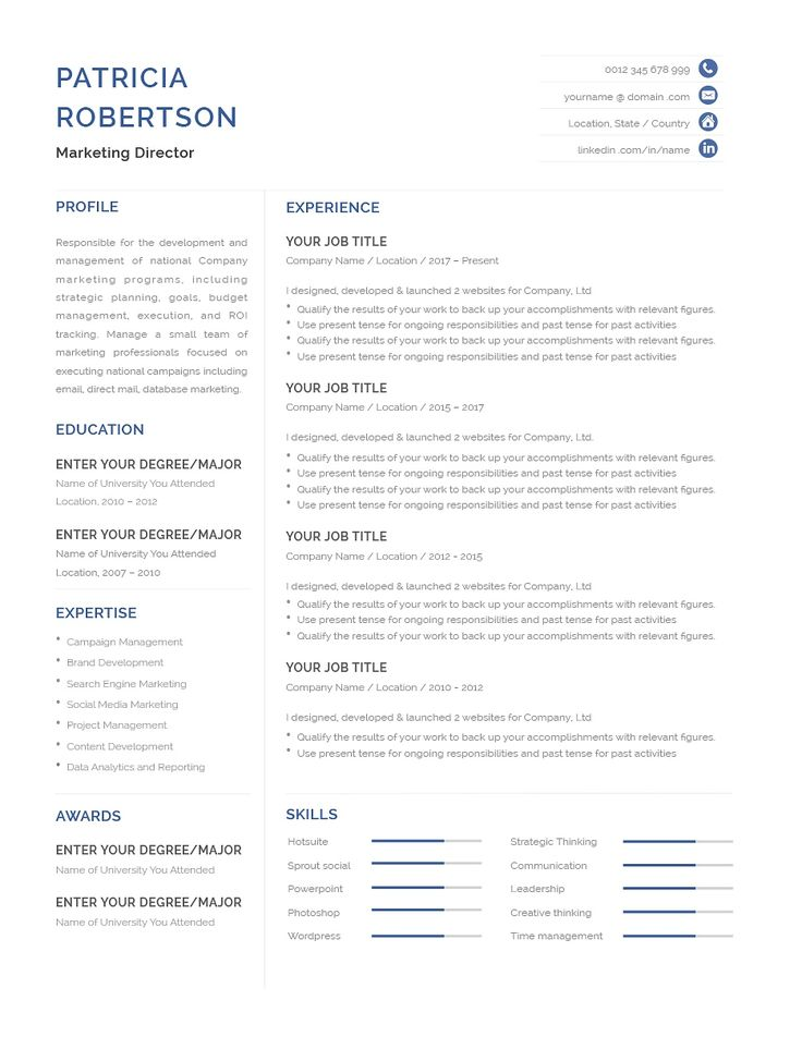 Classic resume template 120680 color blue ms word