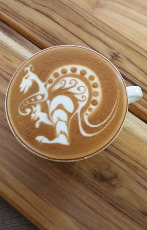 A previous pinner said this was kangaroo latte art; I think it is a dragon. It…