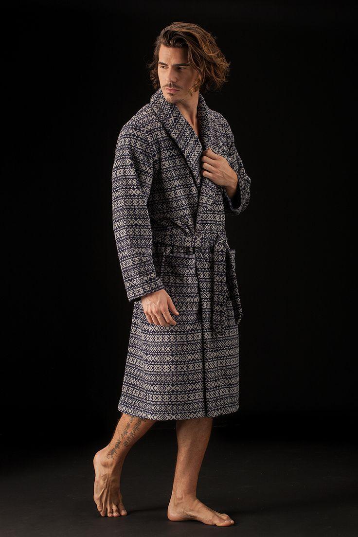 Bata en tejido softy con estampado invernal de Soy Sleep&Homewear Collection