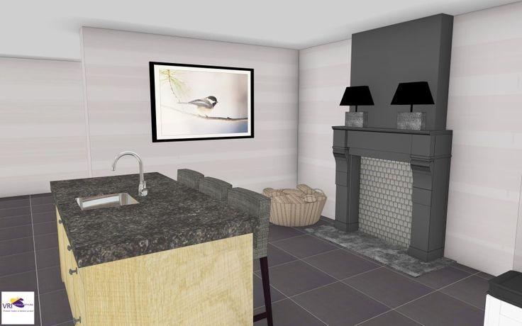 Moderne landelijke eiken keuken met eiland en schouw in 3d ontwerp monique van koppenhagen - Werkblad silestone ...