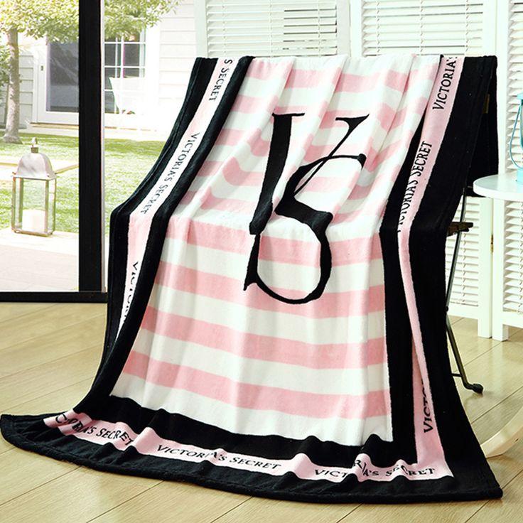 WholeSale Plaids and Bedspreads Pink VS Secret Blanket warm Fleece Bedding Sofa/Bed/Car Portable Plaids travel blanket 130*160cm