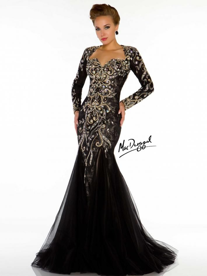Mac Duggal Couture Black Wedding Gown Evening Gowns With SleevesLong