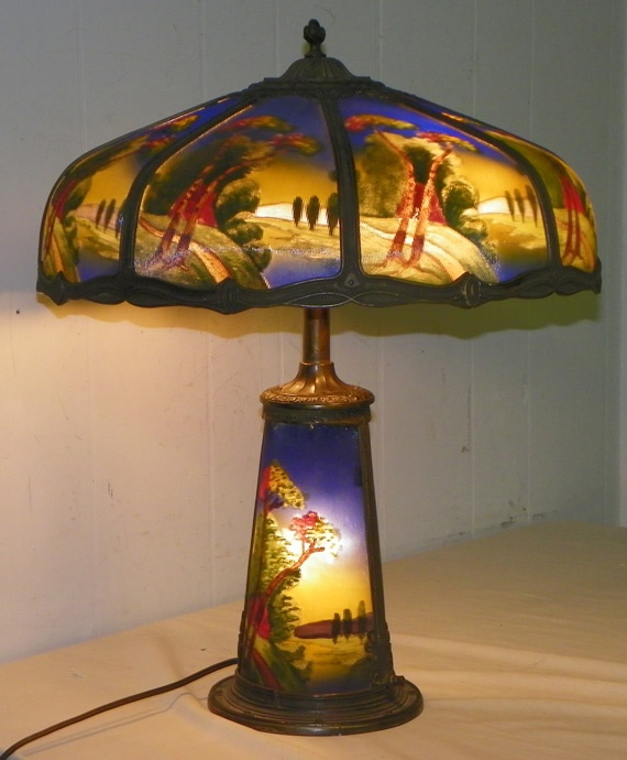 Arts crafts reverse painted lamp