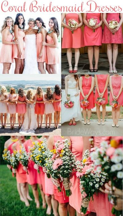 Gorgeous Coral Colored Bridesmaid Dresses - the hottest wedding color of 2014!