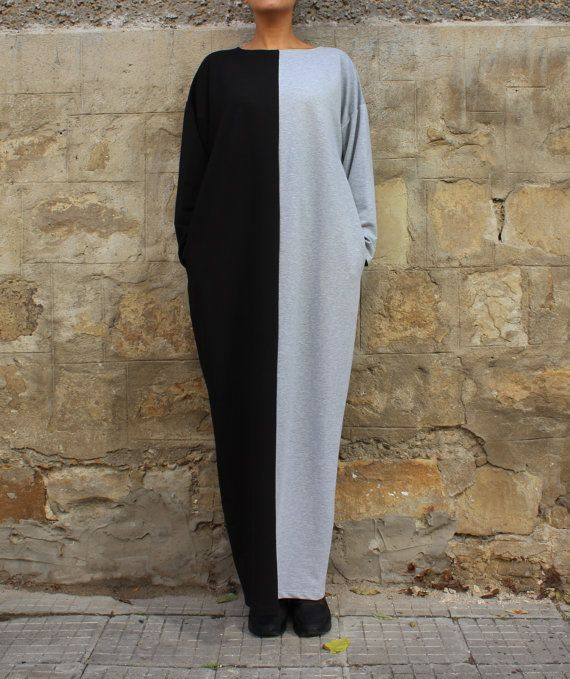 Black and Grey Maxi dress, Caftan, Plus size clothing, Plus size dress, Abaya, Oversized dress, Dress with pockets,Fall Winter dress