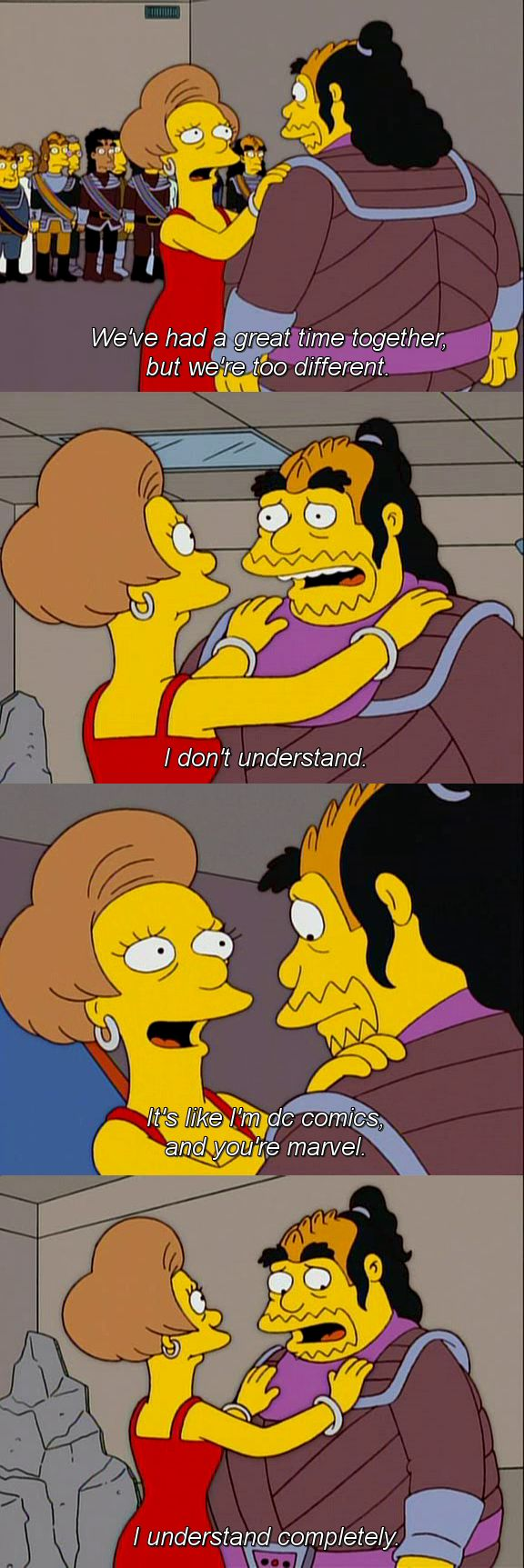 The Simpsons. Comic Book Guy & Edna Krabappel. My Big Fat Greek Wedding - season 15.