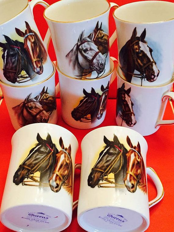 Vintage Queen's Bone China Horse Mug Set by CNAntiques on Etsy
