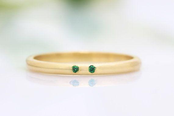 tiny gemstone ringcustom wedding bandengagement by AnemoneUnique