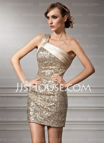 Cocktail Dresses - $162.99 - Sheath One-Shoulder Short/Mini Sequined Cocktail Dresses With Ruffle (016008367) http://jjshouse.com/Sheath-One-Shoulder-Short-Mini-Sequined-Cocktail-Dresses-With-Ruffle-016008367-g8367