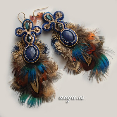 peacock soutache earrings