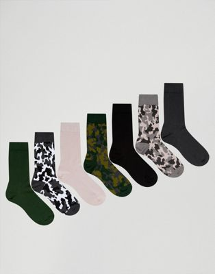 ASOS Socks With Camo Design 7 Pack
