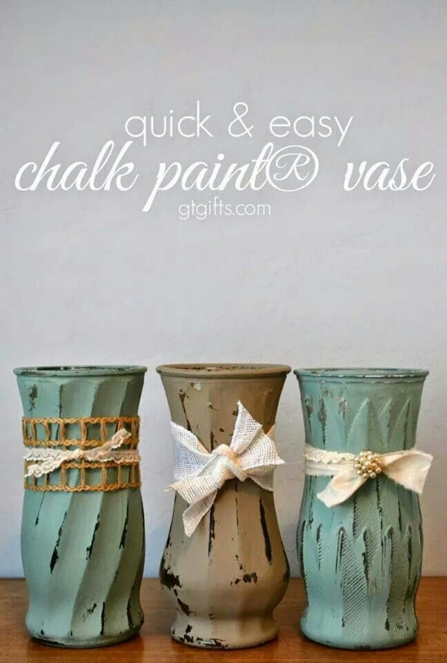 Chalk paint on a vase