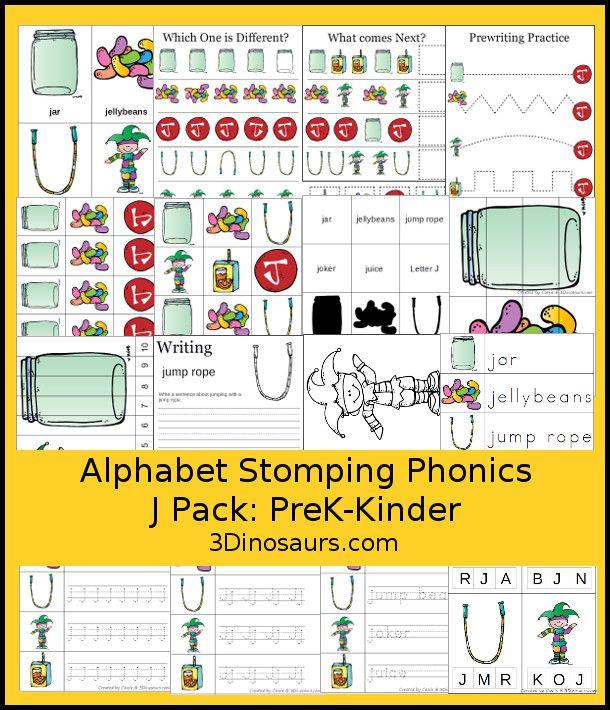 free alphabet stomping phonics j prek kinder pack 30 pages of activities homeschool. Black Bedroom Furniture Sets. Home Design Ideas