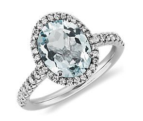 Aquamarine and Diamond Ring in 18k White Gold-Looks like a great 15 year wedding anniversary present to me!!