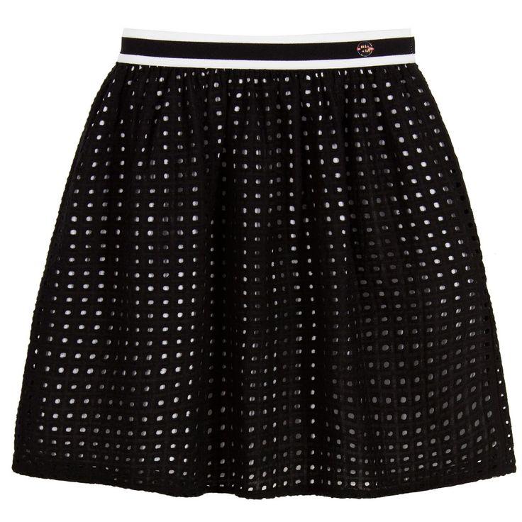 IKKS Girls Black & White Cotton Skirt at Childrensalon.com