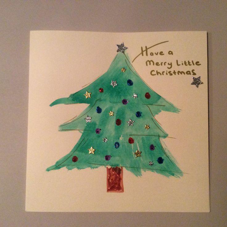 Kerstkaart maken met kinderen. Balletjes glitterlijm. Sterretjes (Pippoos).