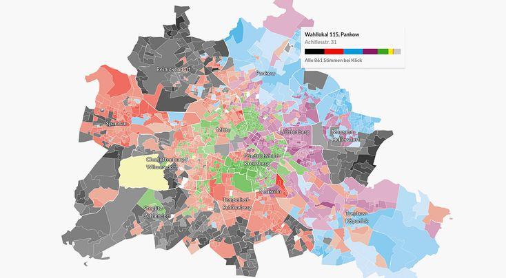 Die interaktive Karte zeigt jede einzelne Stimme in den 1779 Wahllokalen und…