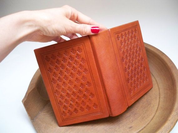 Leather Journal Book  Blank Pages  Tooled Lily of by RilegatoaMano, €90.00