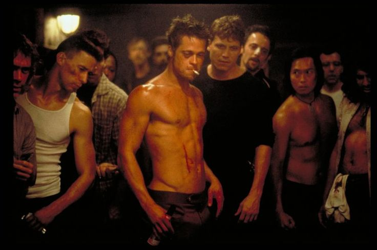 Brad Pitt, Holt McCallany, and Brian Tochi in Fight Club (1999)