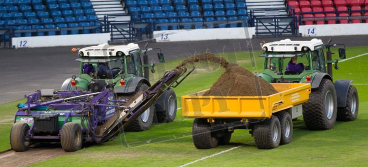 Hampden Park being dug up after the SPFL League Two game between Queen's Park and Berwick Rangers.