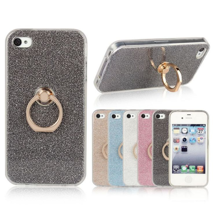 For Apple iPhone 4s Case 3.5 inch Transparent Soft TPU Case Glitter Metal Ring back cover For Apple iPhone 4 Case