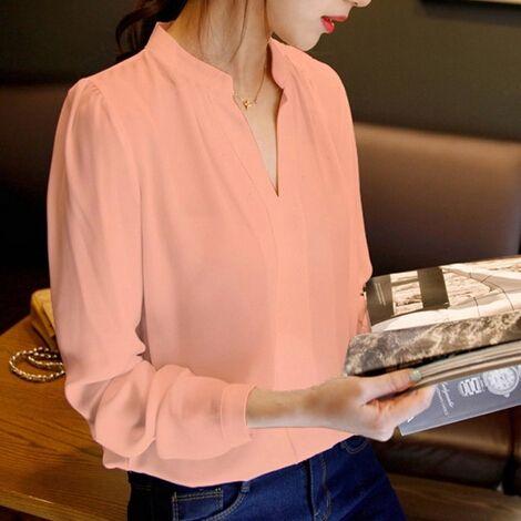Las nuevas mujeres de la blusa señoras de la oficina camisas de la gasa más el tamaño atractivo de manga larga blanca Blusas con cuello en V Femenina Top MF789652