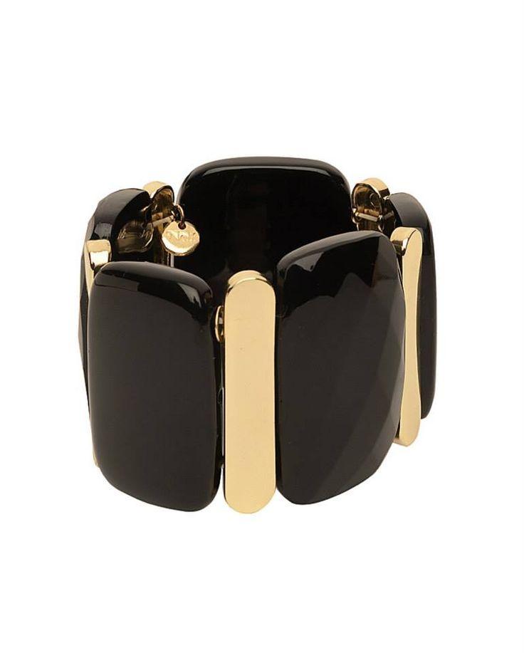 #Bracciale elastico con pietre color nero e oro