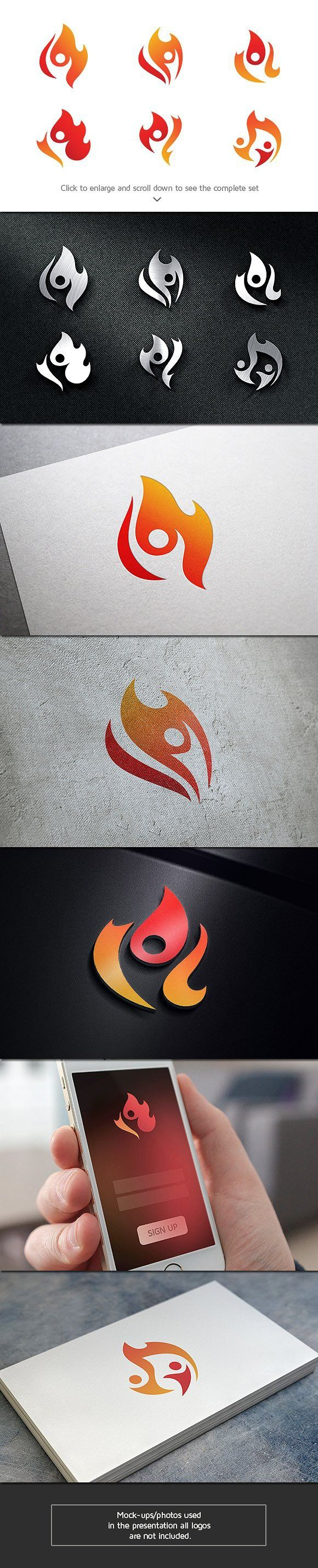 6 People Fire Logo Bundle. Sport Icons