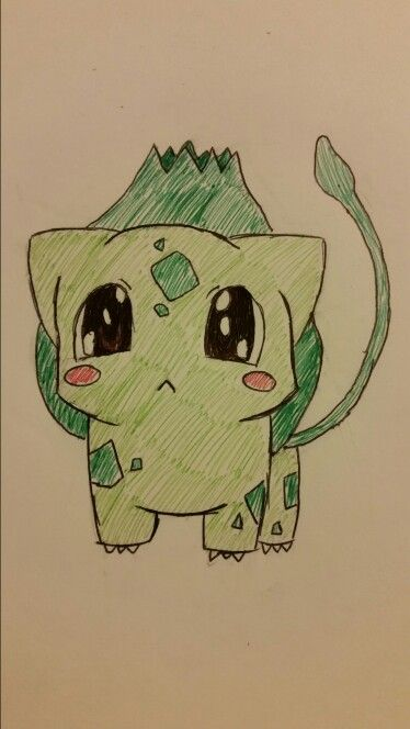 Day 3: Draw your fav gen 1 pokemon EASY! Mine is Bulbasaur! Pen art, chibi, kawaii, pokemon, cute (no repins)