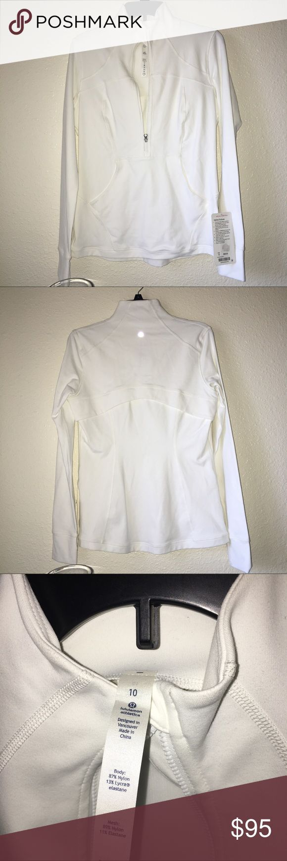 Lululemon Athletica White Define Pullover NWT.  Only flaw is it has light stains on both cuffs at fold.  Just needs to be washed. I got this has a gift and never wore it cause it's white and was always afraid I would get it dirty.  Size confirmed.  PRICE IS FIRM.  NO TRADES!! lululemon athletica Jackets & Coats