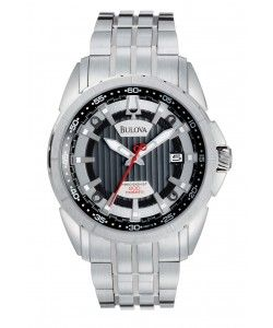 Bulova Precisionist Silver Dial Stainless Steel Mens Watch (96B172)