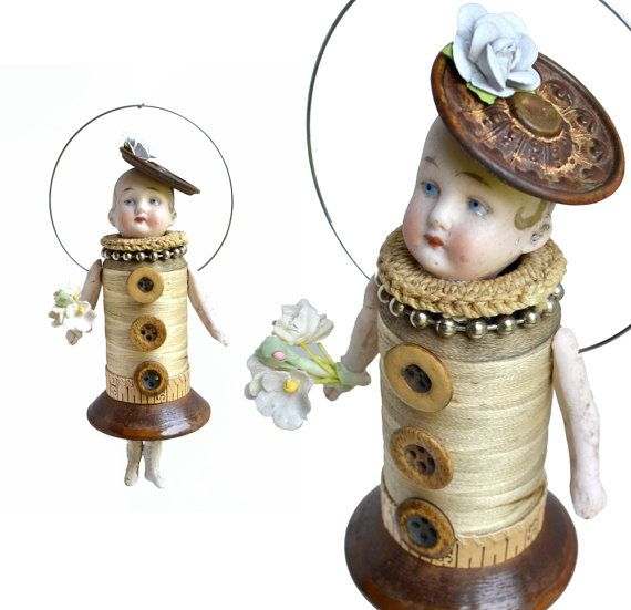 the Milliners Daughter mixed media assemblage by ElizabethRosenArt
