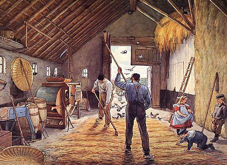 To thresh, Ot and Sien on the Treshfloor, Schoolplate Cornelis Jetses