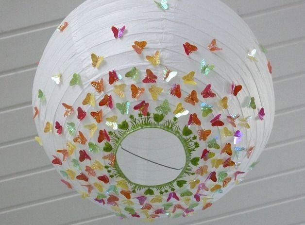 """Lampenschirm """"Grüne Vogelwiese"""" mit bunten Schmetterlingen // lampshade """"green meadow"""" with colorful butterflies via DaWanda.com"""