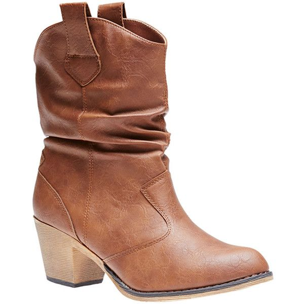 Wet Seal Slouchy Cowboy Boots ($30) ❤ liked on Polyvore featuring shoes, boots, ankle booties, heels, ankle boots, cognac, cognac boots, high heel booties, slouch ankle boots and western boots